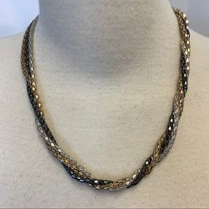 Alfred Sung silver gold braided chain necklace
